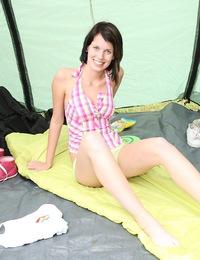 Hot daring teenage sweetheart pleasures herself outdoors