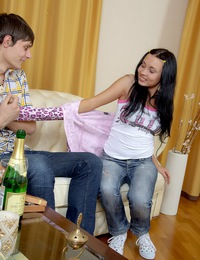 Cute innocent daring teenager drilled by a horny fellow