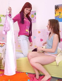 Two pretty hot lesbian teenagers banging each other hard