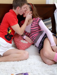 Hot teenage chick taking his massive schlong doggystyle
