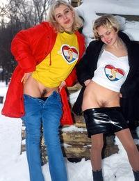 Two very hot lesbian teenagers love sharing a big dildo