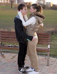 Good looking willing teenager pleasures his pr