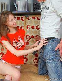 Cute nasty teen getting slammed with a massive schlong