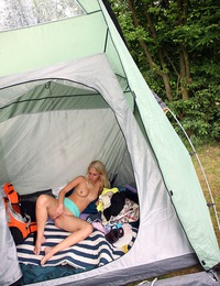A horny teenage fondling blonde goes camping in the woods