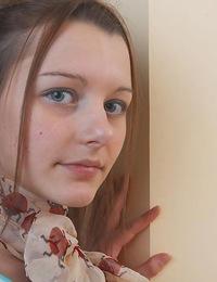 Beautiful blue eyed teenie exposing her hot tiny tits