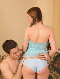 Teen gets her cheeks flushed from passion